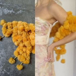 Italian daffodil yellow rabbit pom ball scarf